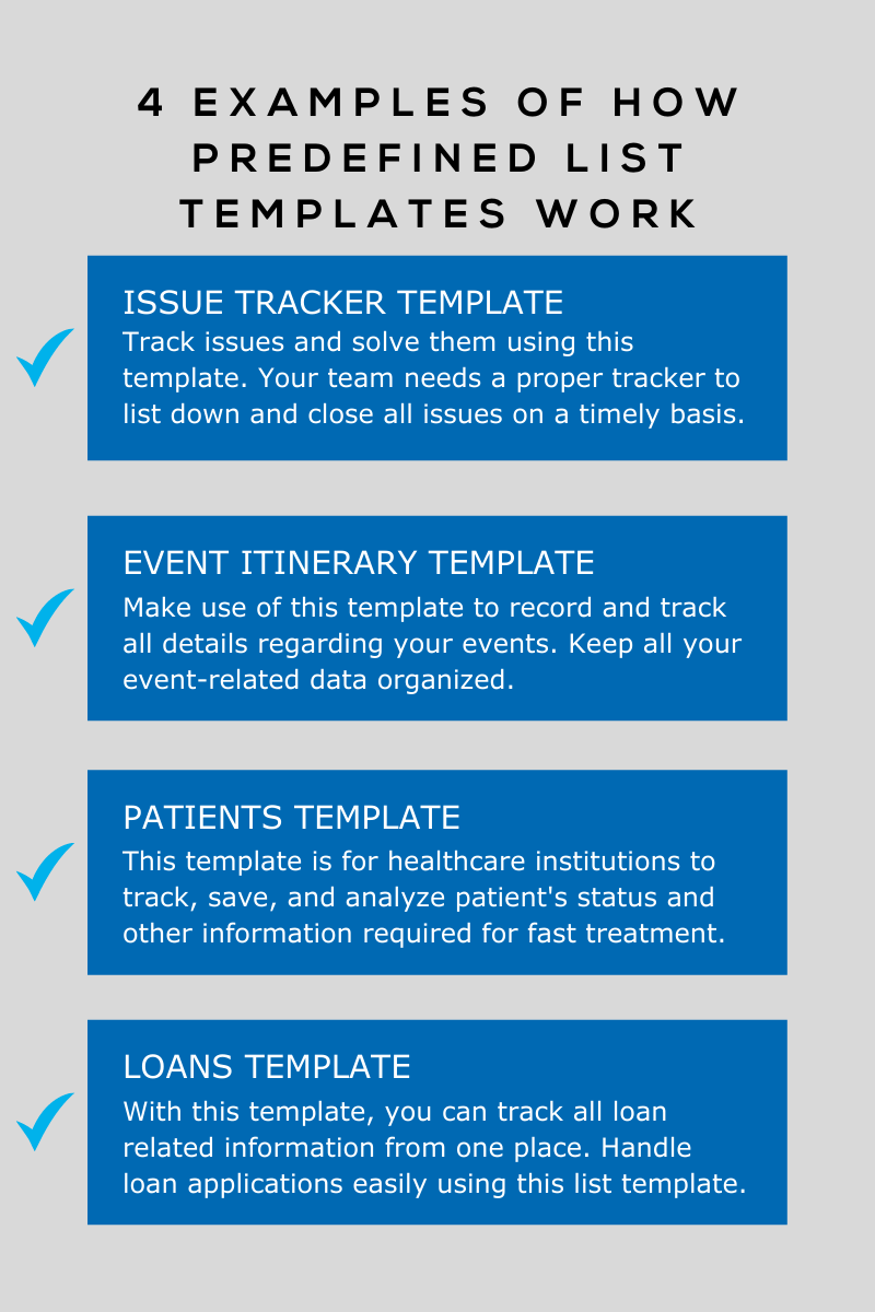 4 Examples of How Predefined List Templates Work - Graphic 1