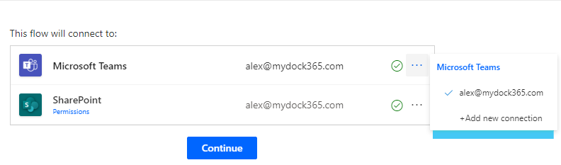 Add Connections - notify when a file is added to SharePoint