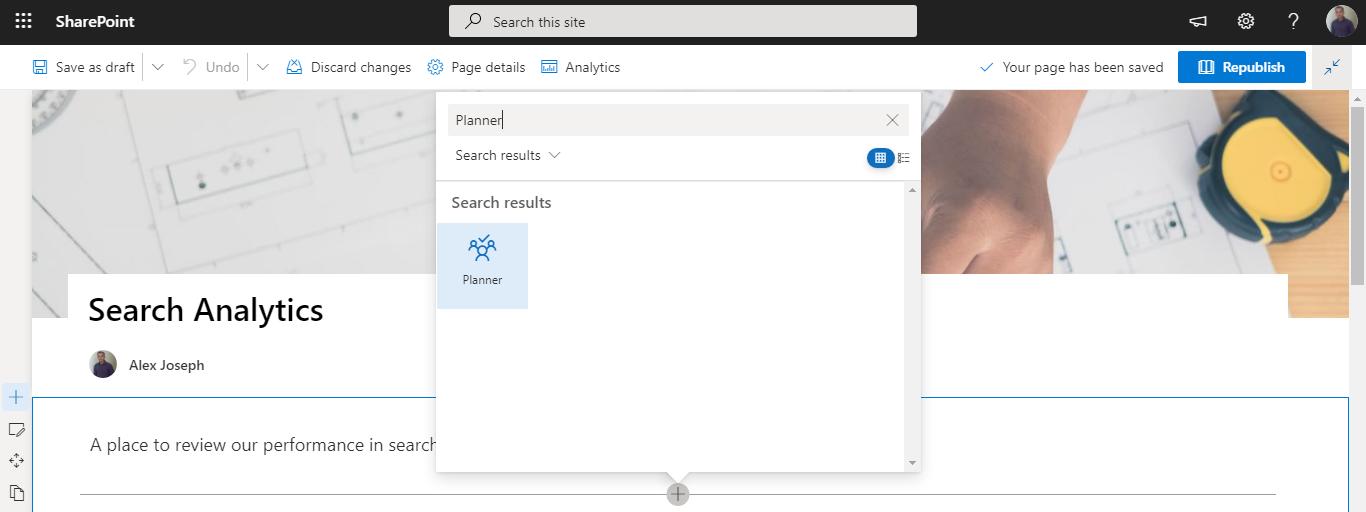 Choose planner web part