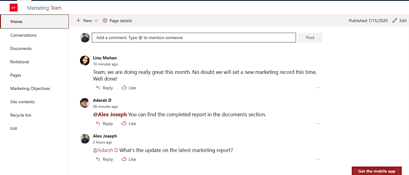 Comment in SharePoint Team site- 5 Ways to Make SharePoint More Social and Interactive