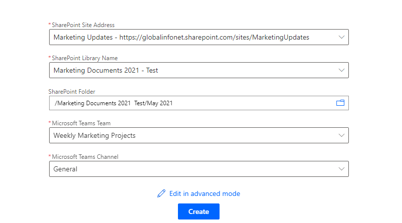 Connection details - notify when a file is added to SharePoint