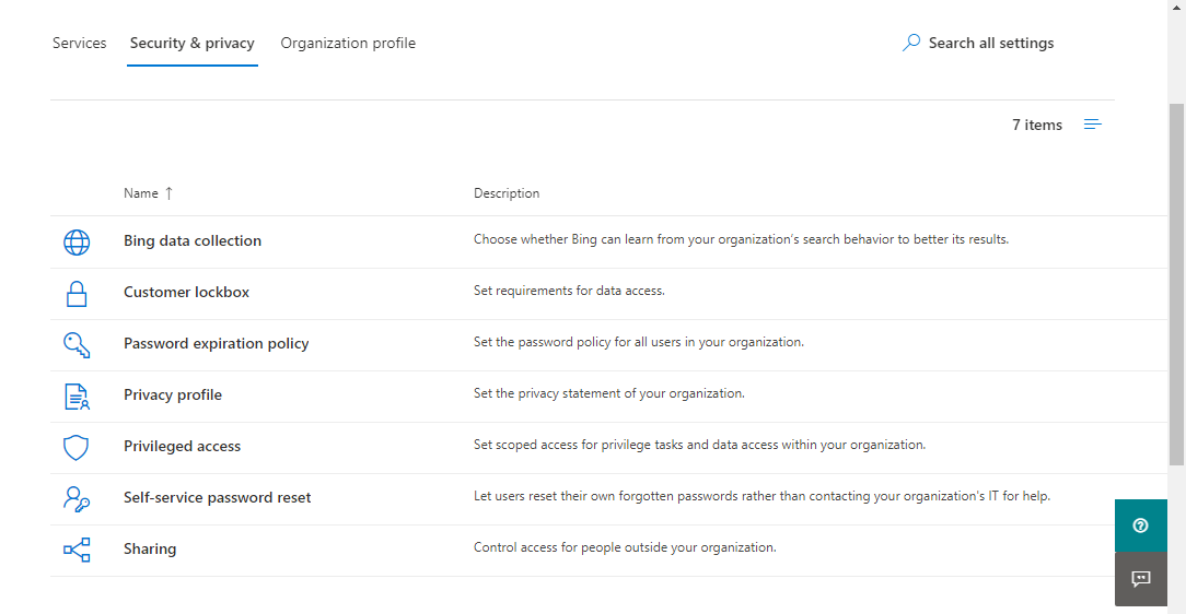 From Security and privacy tab - choose Sharing
