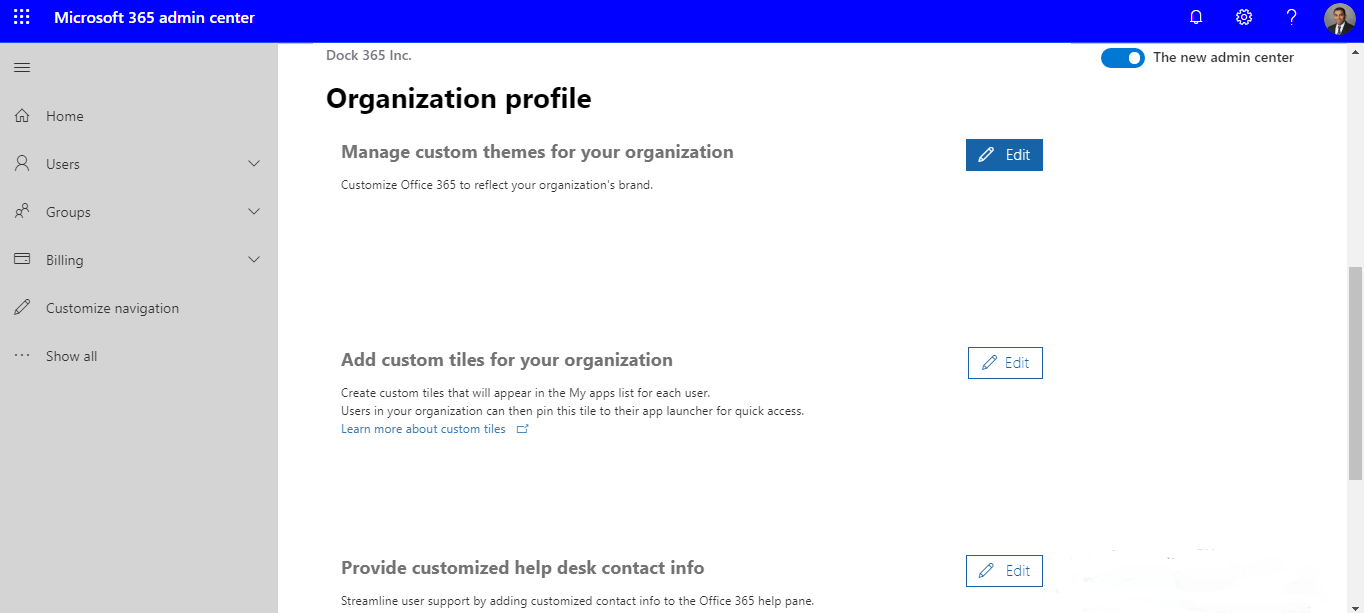 Manage custom themes for your organization options in Microsoft 365 Admin Center