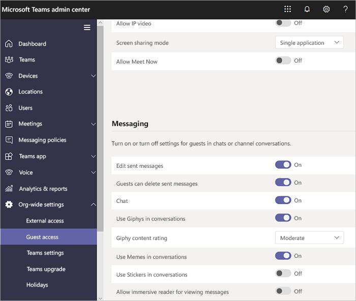 Microsoft Teams admin center guest access options