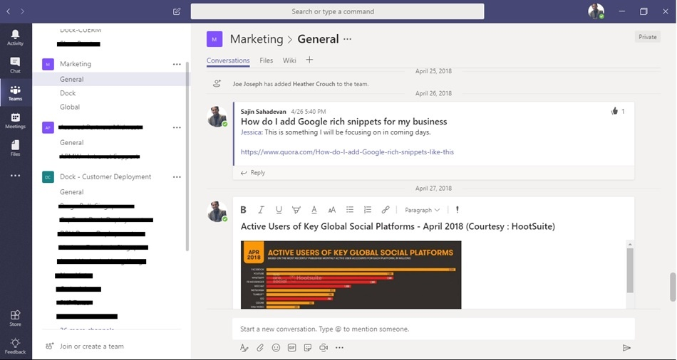 What happens when I upload files in Microsoft Teams?