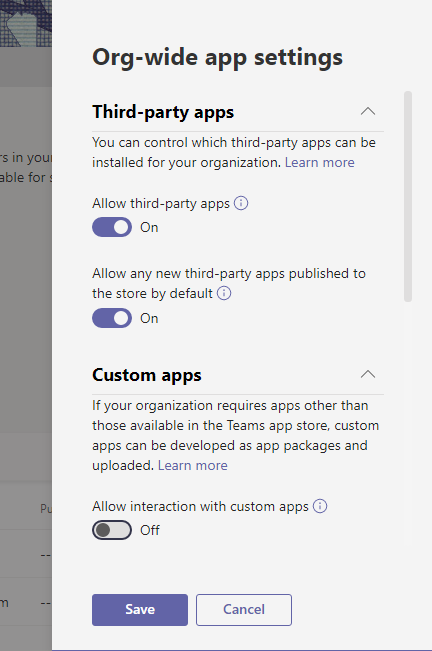 Org-wide app settings - Allow interaction with custom apps