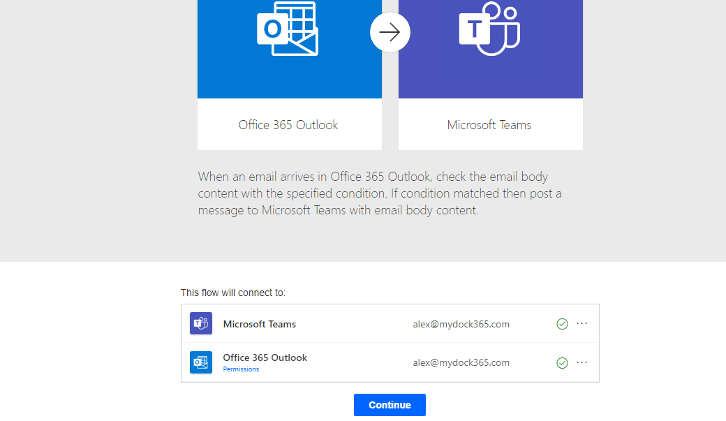 Post a message inTeams when an email arrives in Outlook - Conitnue