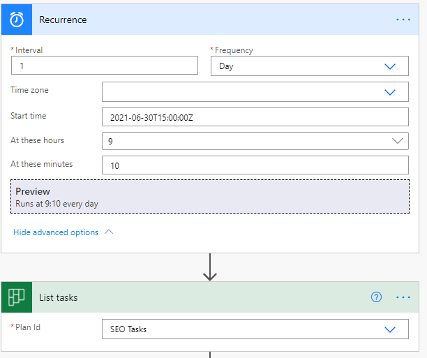 Set up the Recurrence and list task info