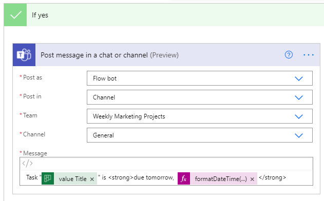Set up your preferences in the Postmessage in a chat of channel section