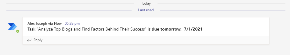 Task due tomorrow - you will see a message like this to your channel