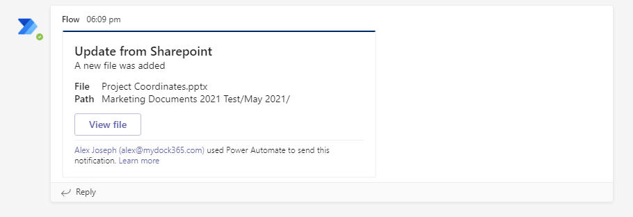 Teams notification - notify when a file is added to SharePoint