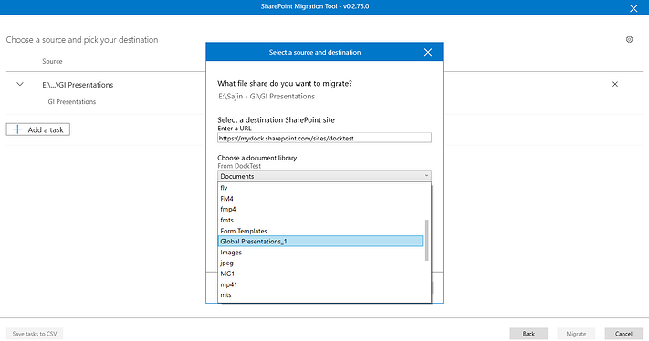 Selecting the source and destination for the file migration steps.png
