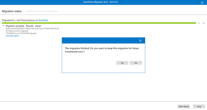 Successful completion of migration task in Microsoft Free SharePoint Migration Tool.png