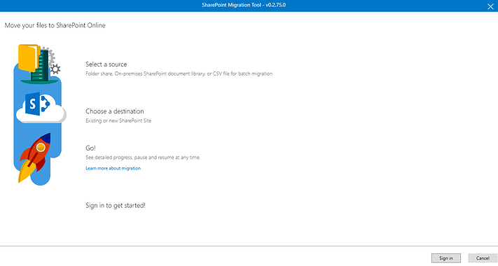 User Interface of Microsoft Free SharePoint Migration Tool.png