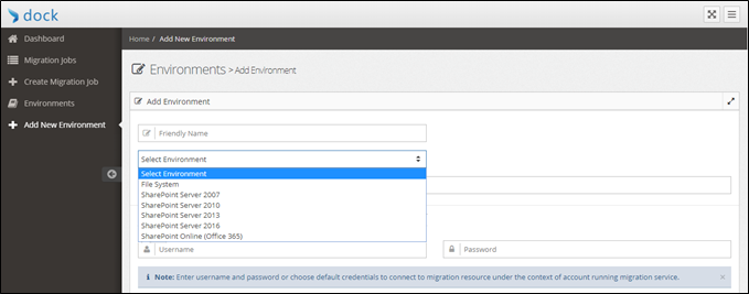 Users can select the platforms ranging from File System, SharePoint Server 2007 to SharePoint 2016.png