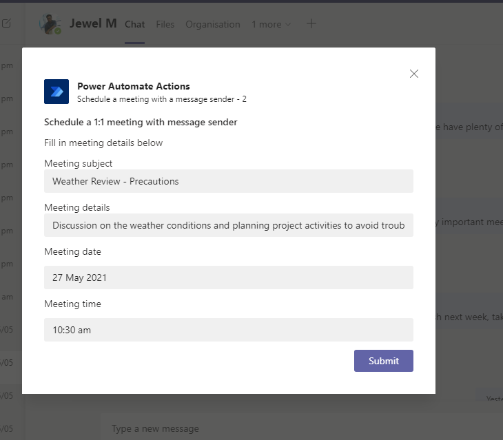 schedule meeting with a messge sender in Teams - Schedulle the meeting by entering details
