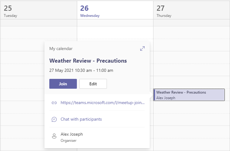schedule meeting with a messge sender in Teams - Verify by going to the Teams Calendar