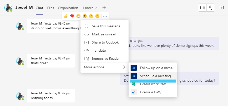 schedule meeting with a messge sender in Teams - from the messages