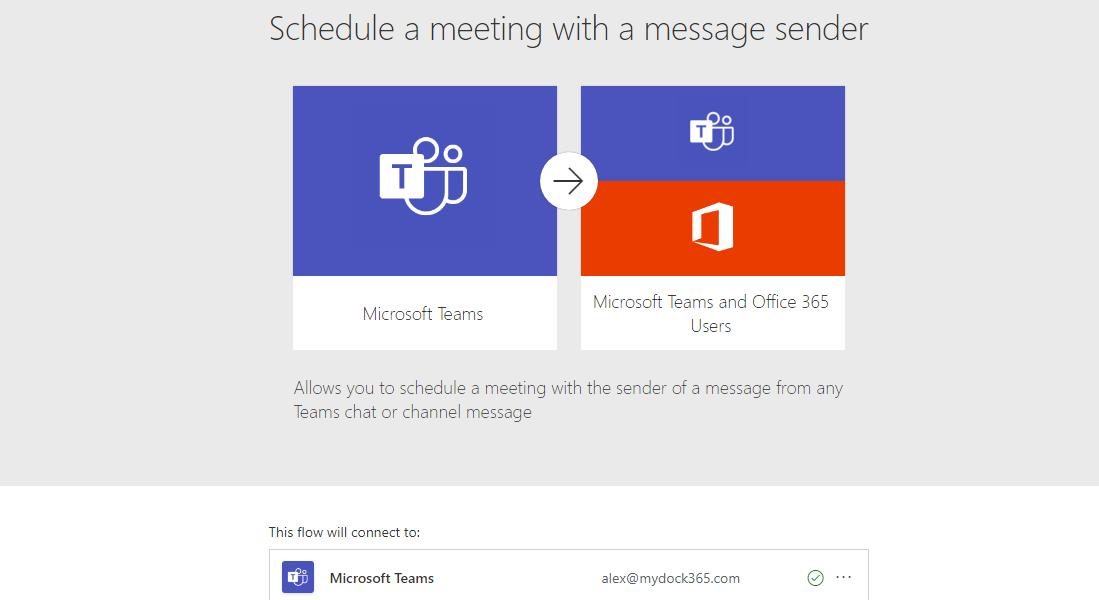 schedule meeting with a messge sender in Teams