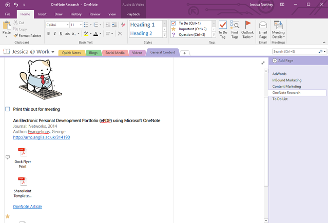 onenote creating a tagpng