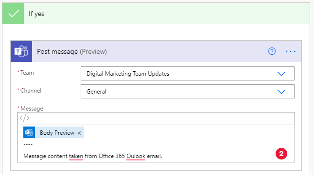 set up desired Teams specification and message format