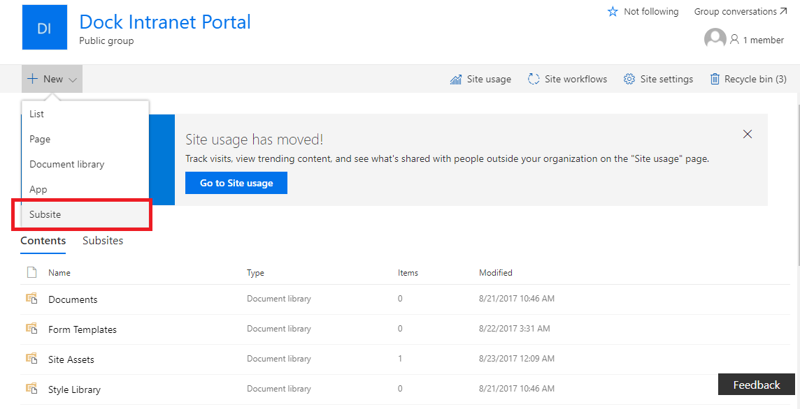 Creating Subsites in SharePoint